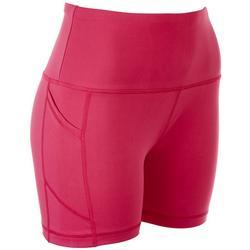 Womens Solid Knit Pocket Bike Shorts