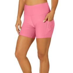 VOGO Womens Solid Knit Pocket Bike Shorts