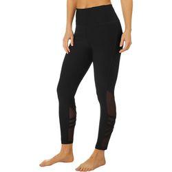 VOGO Womens Solid Mesh Lattice Panel Capri Leggings