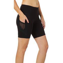 VOGO Womens Lifestyle Solid Knit Mesh Pocket Bike Shorts