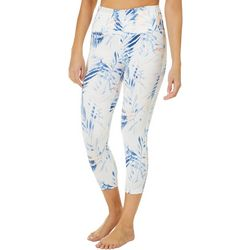 Womens Palm Leaf Print Performance Capris
