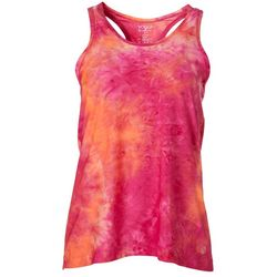 Womens Tie Dye Scoop Neck Racerback Tank Top