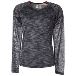 RBX Womens Space Dye V-Neck Long Sleeve Top
