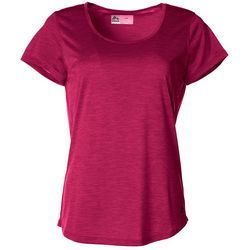 RBX Womens Solid Heathered Stripe Jersey Knit Round Neck Top
