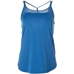 Womens Solid Mesh Trim Strappy Tank Top