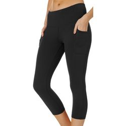 Womens Soild Pocket High Waisted Capri Leggings