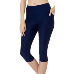 Womens High Waist Solid Capri Leggings
