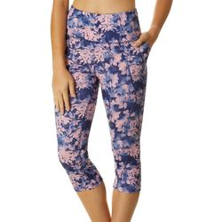 Womens High Waist Floral Capri Leggings