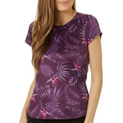 RB3 Active Womens Tropical Palm Short Sleeve Top