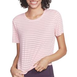 Womens Shadow Stripe Openback Short Sleeve Top