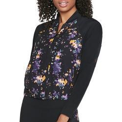 Womens Feminine Floral Bomber Jacket