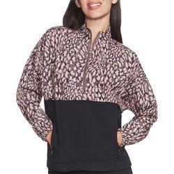 Womens Cheetah Colorblock Print Packable Jacket