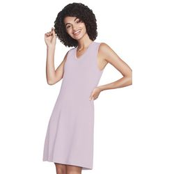Skechers Womens Day Off Solid V-Neck Sleeveless Dress