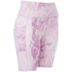 Womens High Waisted Printed Biker Shorts With Pockets