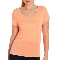 Marika Womens Vivion Solid V-Neck Short Sleeve Top