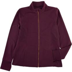 Womens Active Solid Jacket Rose Gold Zipper