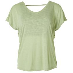 Jessica Simpson Womens Solid Open Back V-Neck Top