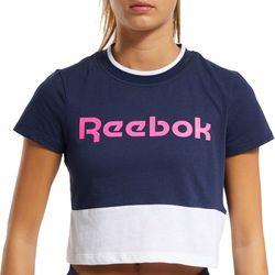 Reebok Womens Colorblock Logo Crop Top