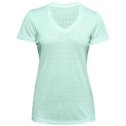 Under Armour Womens UA Tech Wordmark Jacquard V-Neck T-Shirt