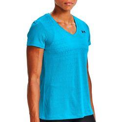Womens UA Tech Wordmark Jacquard V-Neck T-Shirt