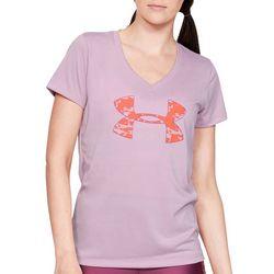 Under Armour Womens Tech Camo Logo  V-Neck T-Shirt