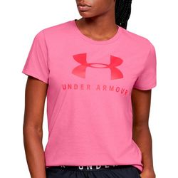 Under Armour Womens Heathered Logo Crew Neck T-Shirt