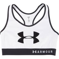 Under Armour Womens Mid Impact Shiny Logo Sports Bra