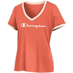 Champion Womens Classic Logo Ringer V-Neck T-Shirt
