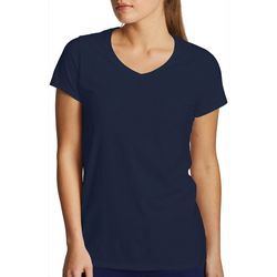 Womens Solid Short Sleeve V-Neck T-Shirt