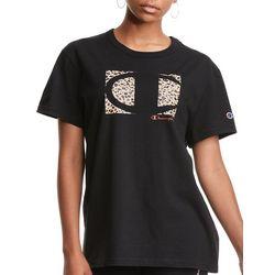 Champion Womens Leopard Champion Logo T-Shirt