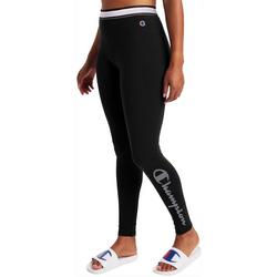 Womens Stripe Waistband Logo Leggings