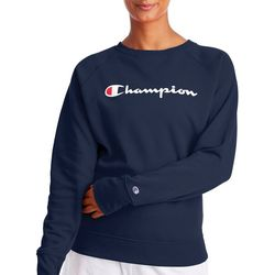Champion Womens Campus Terry Logo Solid Sweatshirt