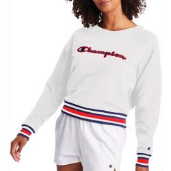 Champion Womens Campus Cropped Crew Neck Sweatshirt