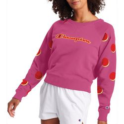Champion Womens Campus Cropped Dot Crew Neck Sweatshirt