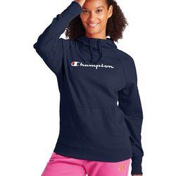 Champion Womens Powerblend Fleece Hoodie With Script Logo