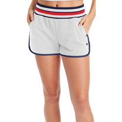 Womens Solid Stripe Waist French Terry Shorts