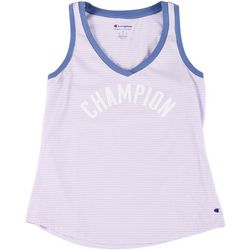 Champion Womens Heritage Logo Ringer V-Neck Tank Top