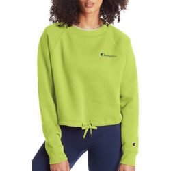 Champion Womens Campus Cropped Cinched Crew Neck Sweatshirt