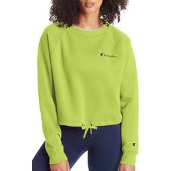 Womens Campus Cropped Cinched Crew Neck Sweatshirt