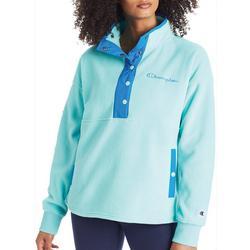 Womens Fleece Colorblock Buttoned Pullover