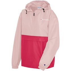 Champion Womens Solid Colorblock Campus Logo Hoodie