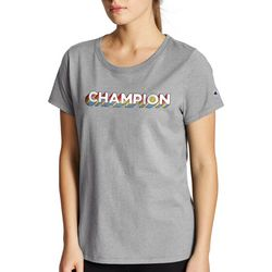 Champion Womens Pop-up Logo Graphic T-Shirt