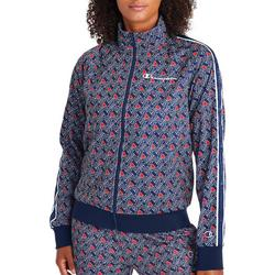 Womens Logo Printed Zippered Jacket