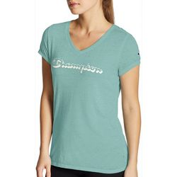 Champion Womens Authentic Logo Heathered V-Neck T-Shirt