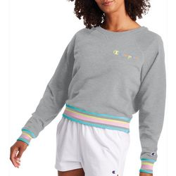 Champion Womens Campus Cropped Terry Crew Neck Sweatshirt