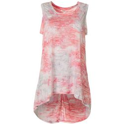 FUDA Womens Tie-Dye Hi-Low Tank Top