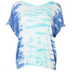 Womens Scoop Neckline Tie Dye Short Sleeve Top