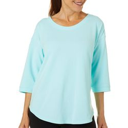 Brisas Womens Solid Round Neck High Low Top