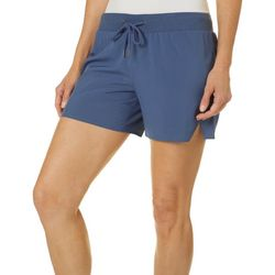 Brisas Womens Solid Pull On Drawstring Shorts