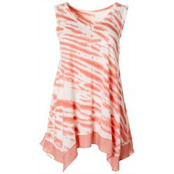 Brisas Womens Tie Dye Stripe V-Neck Sharkbite Hem Top